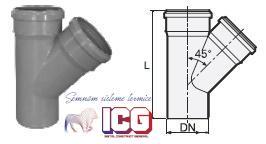RAMIFICATIE POLIPROPILENA PENTRU CANALIZARE D.110XD.110X45° - RAMIFICATIE POLIPROPILENA PENTRU CANALIZARE D.110XD.110X45°